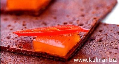 Острые шоколадные блины с цитрусовым желе