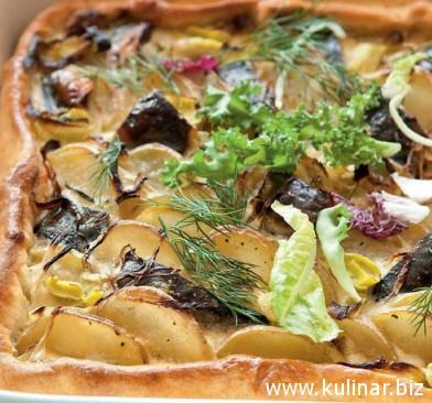 Пирог с картофелем и скумбрией