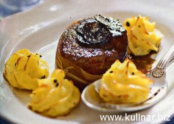 «картофель дюшес» с трюфелями и турнедо из оленины