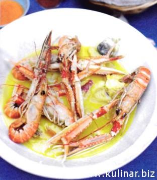 Рыбный суп-биск с аиоли и соусом арденте
