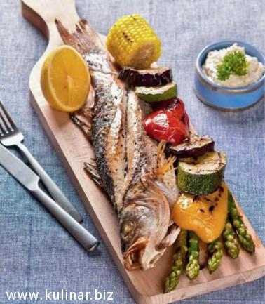 Рыба с овощами-гриль