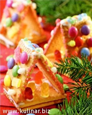 Новогодние домики из печенья